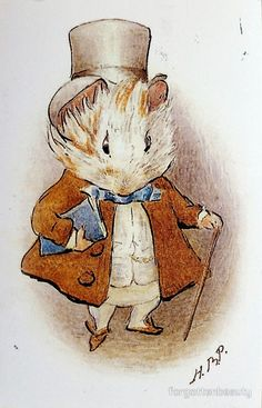 The Amiable Guinea Pig by Beatrix Potter included in 'Appley Dapply's Nursery Rhymes' Art And Illustration, Illustration Children, Beatrix Potter Illustrations, Book Illustrations, Beatrice Potter, Peter Rabbit And Friends, Hamsters, Rodents, Baby Art