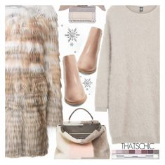 """""""LET IT SNOW! COZY CHIC//CHELSEA BOOTS"""" by shoaleh-nia ❤ liked on Polyvore featuring Yves Salomon, Eleventy, Fendi, Joie, Clinique and Chloé"""