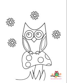 cute owl sitting on a mushroom coloring page for kids