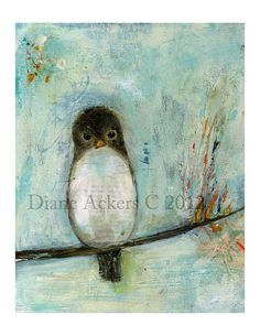 Items similar to Brown Bird on a tree Original mixed media Painting not a print by Diane Ackers on Etsy Mixed Media Painting, Mixed Media Art, Acrylic Painting Inspiration, Brown Bird, Whimsical Art, Ink Art, Love Art, Altered Art, Painting & Drawing