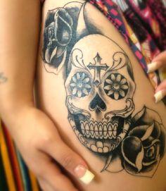 My Sugar Skull & Roses Tattoo!!!! #coverup