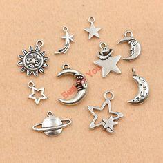 Смешанная тибетский серебряный позолоченный луна звезда солнце шармов ювелирных изделий ручной работы аксессуары DIY m030купить в магазине Best for you Jewelry FactoryнаAliExpress