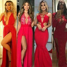 Qual o seu preferido? O meu é o terceiro da esquerda para direita. Bela inspiração para madrinhas e também para festa de fim de ano.  Vi no @blogdaeryka .  .  #lookdefimdeano #lookddnatal #lookmadrinha #madrinhasdecasamento #casamentoemdezembro #casamentovermelho #madrinhasdevermelho #vestidovermelho Look, Photo And Video, Formal Dresses, Fashion, Bridesmaids, Red Wedding, Red Gown Dress, Belle, Dresses For Formal