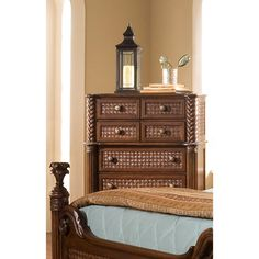 Add elegance to your bedroom with this finely crafted pine dresser, featuring seven drawers for ample storage. A rich coco brown finish completes the look.