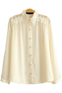 Floral Lace Paneled Chiffon Shirt