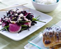 Seaweed Salad with watermelon radishes and garlic scapes, grilled mackerel  #Paleo, #Primal and #Gluten-free