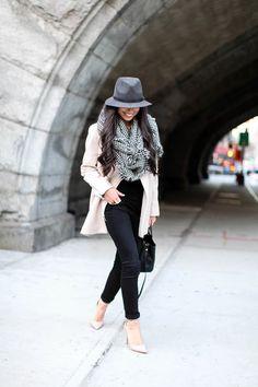 Blush + Houndstooth - Kenneth Cole coat c/o // J.Crew sweater // J Brand jeans Schutz heels // Zara scarf  // Rag & Bone hat // Fendi bag Wednesday, December 18, 2013