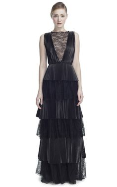 VALENTINO  Leather And Lace Sleeveless Gown