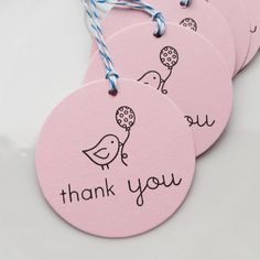 Thank You Tags Little Bird - Set of 8 - Custom Colors Available - Baby Shower Favor Tags Bird Birthday Party Thank You