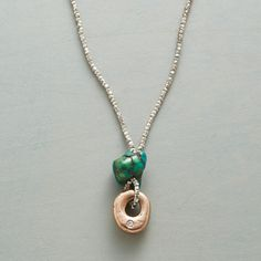 """ROCK OF AGES NECKLACE--By Jes MaHarry, a handcrafted necklace that resonates with ancient wisdom and modern charm. Made with petite sterling silver nuggets and a row of andalusite, it holds a diamond-kissed 14kt rose gold charm beneath a turquoise stone, each unique. Sterling lobster clasp. USA. Exclusive. 20-1/2""""L."""
