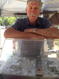 Oct 24: Noel at Mullum Farmers Market with his oysters, shots and chowder