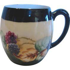 French Limoges Mugs Hand Painted Blackberries Berries Set of 4 c 1900