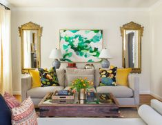 Want to inspire the color of the living room interior space? Here we share the living room color combination that you can choose. Colourful Living Room, Living Room Colors, Living Room Designs, Living Room Interior, Living Room Furniture, Living Room Decor, Interior Livingroom, Living Rooms, Salon Simple
