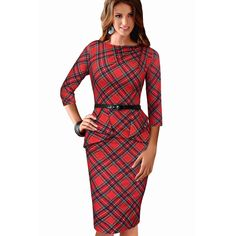 Vfemage New Womens Vintage Elegant Belted Tartan Peplum Ruched Tunic Work Party Cap Sleeve Bodycon Sheath Dress 262