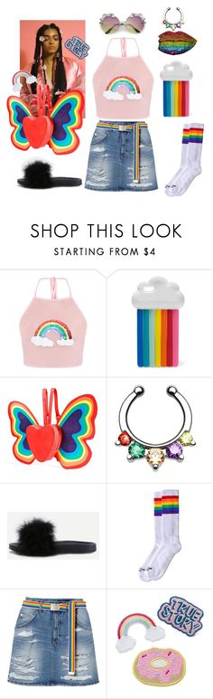 """Pride 🌈🦋"" by sapphire-stone ❤ liked on Polyvore featuring STELLA McCARTNEY, Current Mood, WithChic, rainbow, pride and lgbt"