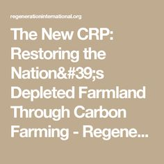 The New CRP: Restoring the Nation's Depleted Farmland Through Carbon Farming - Regeneration InternationalRegeneration International