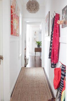 jordan-ferney-apartment-san-francisco-small-apartment-tips-corridor - Home Page Small Apartment Hacks, Small Apartments, Apartment Living, Family Apartment, Apartment Ideas, Small Space Design, Small Spaces, Entry Hallway, Hallway Ideas