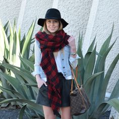 Leather shorts plaid flannel scarf felt hat  seekwandershare.com