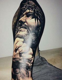 60 Jesus Tattoo Designs For Men - Religious Ink Ideas Half Sleeve Tattoos For Guys, Best Sleeve Tattoos, Tattoo Sleeve Designs, Tattoo Designs Men, Jesus Tattoo Sleeve, Jesus Tattoo Design, Tatto Design, Retro Tattoos, Life Tattoos