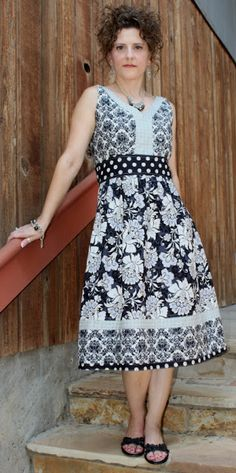Paper sewing pattern to make a maxi dress with the following features: - easy to wear - semi-fitted - maxi or knee length - contrasting neckline trim - raised waistband - back zipper closure - gathere