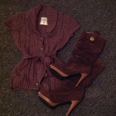 Sexy and cute! Cable knit shirt with belt. Brown cable knit button up shirt with belt. Worn gently! H&M Tops