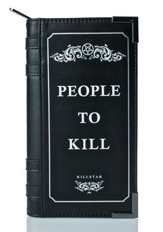 Killstar Kill List Book Wallet ...you need a whole book fer that, bb?! Wish 'em ill-fortune with this sikk wallet, featurin' a sturdy black vegan leather construction, book shape with binding detail and metal edges, wraparound zipper, and plenty of card slots 'N pockets inside.