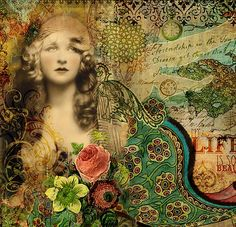 Bohemian Gypsy Fantasy Mixed Media Digital Collage Fine Art Print 'Property of Love'