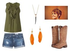 """""""Peter Pan Cowboy"""" by shadzbrattsyn on Polyvore featuring Miss Selfridge, AG Adriano Goldschmied, Roper and Bee Goddess"""