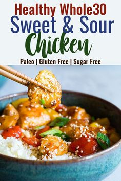 Gluten Free Sweet and Sour Chicken - This paleo friendly, healthy sweet and sour chicken is so easy to make and tastes better than takeout and is WAY better for you! It's sugar/grain/gluten/dairy/egg free too! Paleo Recipes Easy, Sugar Free Recipes, Whole 30 Recipes, Healthy Chicken Recipes, Healthy Dinner Recipes, Whole Food Recipes, Family Recipes, Chicken Meals, Healthy Food