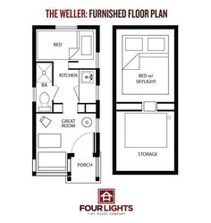 House Plan With Loft, Cottage Style House Plans, Tiny House On Wheels, Small House Plans, House Floor Plans, Small Tiny House, Tiny House Living, Tiny House Design, Tiny Houses