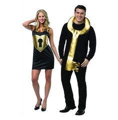 Lock and Key Couples Costume is a couples costume where the guy wears a pull over key and the girl wears a black one size fits all dress with a gold lock in the shape of a heart. - Made of 100% Polyes