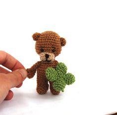 Teddy bear, tiny bear holding a four leaved clover, luck doll, crocheted bear… Knit Or Crochet, Crochet Dolls, Crochet Pattern, Artisan & Artist, Good Luck Gifts, Etsy Handmade, Handmade Gifts, Yarn Over, Crochet Animals