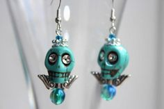 someone buy these for me!!! Turquoise Skull Earrings £5.00