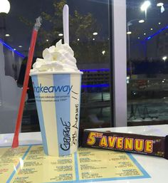"I like my ""George"" milkshake kicked up with with a 5th Avenue candy bar!"