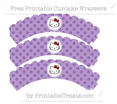 Free Pastel Plum Polka Dot  Hello Kitty Scalloped Cupcake Wrappers