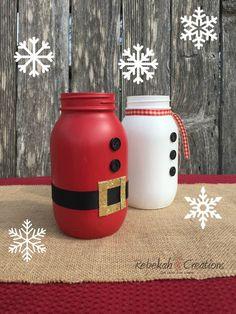 Santa Claus and Snowman Mason Jars Holiday Centerpiece image 4 Christmas Arts And Crafts, Christmas Mason Jars, Mason Jar Diy, Mason Jar Crafts, Bottle Crafts, Holiday Crafts, Halloween Door Decorations, Christmas Decorations, Holiday Decorating