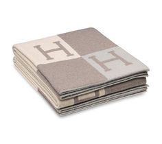 "Avalon Hermes signature H blanket in natural. 100% knitted cashmere. Measures 53.1"" x 65"""