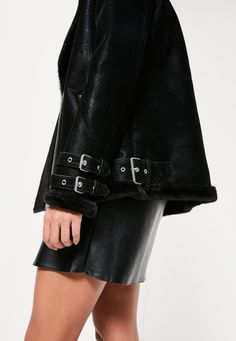 Missguided - Black Oversized Faux Fur Lined Aviator Jacket