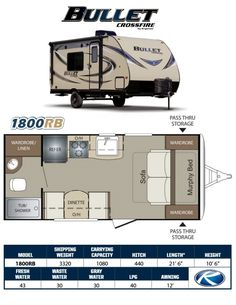 ***NOW ON SALE!!!***  The new Bullet Crossfire series has been specifically engineered to be even lighter than the standard Bullet Ultra-Light travel trailers, without sacrificing the look, comfort and amenities found in the regular Bullet, the Crossfire also offers the latest in hybrid technology weighing in at well under 4,000lbs, so many of the smaller trucks, SUV's, and even Cross-Overs can tow them. The 1800RB is a rear bathroom trailer that features a front Sofa/Murphy Bed. this…