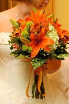 Orange Bouquet 15: Asiatic Lilies, Kermit Mums, Hypericum berries, Alstroemeria Lilies, and Hydrangea
