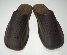 SALE !!! Men's Natural Leather, wool, SLIPPERS,  Very light and comfy! Good gift!