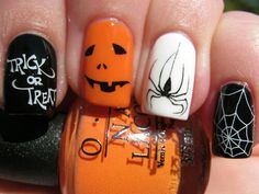 Halloween Manicure Nails Trick or Treat Pumpkin Spider Spider Web Party Costume