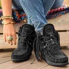 Oumiss women snow warm winter boots botas lace up fur ankle boots - oumiss Flat Heel Boots, Ankle Heels, Lace Up Ankle Boots, Calf Boots, Shoes Brown, Black Shoes, K98, Warm Winter Boots, Winter Shoes
