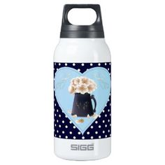 White poppy bouquet blue heart SIGG thermo 0.3L insulated bottle