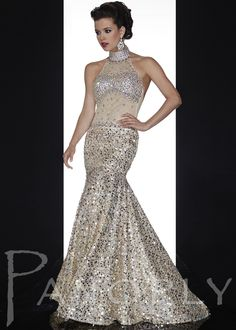 Shop Now Panoply 14591 gold sequin sheer high neck homecoming dresses available at RissyRoos.com.