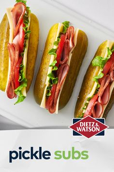 All aboard the Pickle Sub! Ditch the bread for a low-carb, refreshingly crunchy pickle and pile on our Originals Black Forest Ham and Smoked Provolone. Lean Protein Meals, Healthy Low Calorie Meals, Low Calorie Recipes, Keto Recipes, Healthy Snacks, Healthy Eating, Cooking Recipes, Healthy Recipes, Cold Lunches
