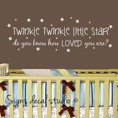 Twinkle Twinkle Little Star Wall Decal - Baby Nursery Decal, Kids Room Decal, Wall Sticker on Etsy, $30.77