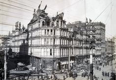 Baldwin Hotel, San Francisco, 1898. Before the Flood Building there was Elias J. Baldwin's hotel and theater, here photographed after the fire that destroyed it.