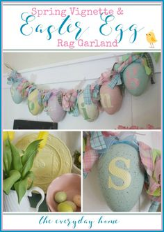 Spring Vignette & Easter Egg Garland | The Everyday Home | www.everydayhomeblog.com
