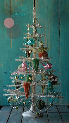 New Glitterville Large Twist Candy Feather Velvet Stripe Christmas Tree Ornament